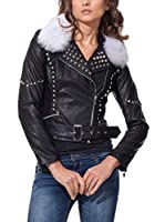 DROLE DE COPINE Chaqueta Biker With Fur And Tacks (Negro)