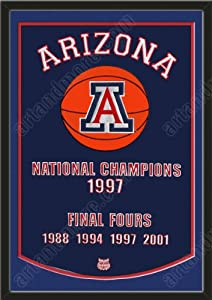 Dynasty Banner Of Arizona Wildcats With Team Color Double Matting-Framed Awesome... by Art and More, Davenport, IA