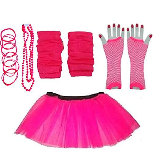 Plus Size 16-24 - Neon Tutu Skirt, Fishnet Gloves, Legwarmers, Beads & Bangles
