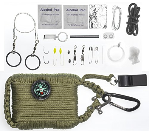 A2S Survival Gear Paracord 30pcs Emergency Kit First Aid Kit & Emergency Food finding Fishing Gear Compass Emergency Whistle Fire Starter set Survival Knife & more (Army Green, Large) (1 8 Starter Rope compare prices)
