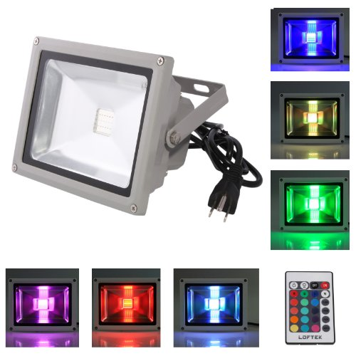 Loftek® 50W Waterproof Outdoor Security Led Flood Light Spotlight High Powered Rgb Color Change(16 Different Color Tones) With Plug And Remote Control Ac85V-265V, With 1 Meter Power Plug. 950Wfl