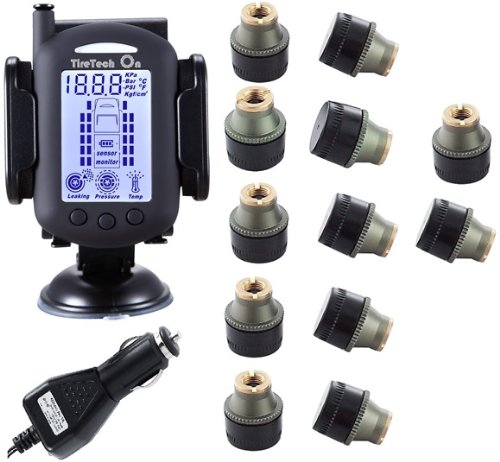Tiretech On Tp7005 Wireless Tire Pressure Monitoring System W/ 12 Brass Transmitters 0-232 Psi