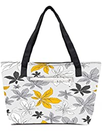 Pack Of 2 Yellow Flower Grey Combo Tote Shopping Grocery Bag With Coin Pencil Purse