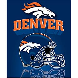 "Denver Broncos Light Weight Fleece NFL Blanket (Grid Iron) (50""x60"")"