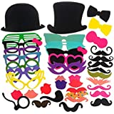 FitSand (TM) 40 Piece Photo Booth Props Colorful DIY Glasses Moustache Props On A Stick Party Fun Wedding Christmas Birthday Favor