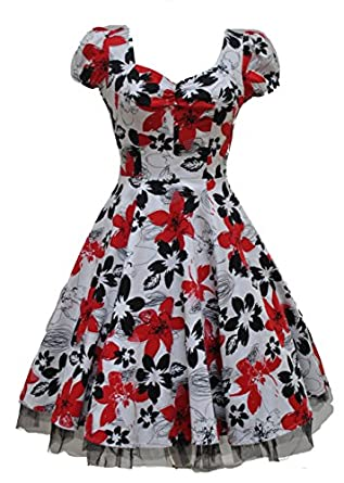 Ladies 40's 50's Vintage Style White Red Black Floral Full Circle Swing Tea Dress (08)