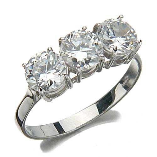 Tryo Ladies' Ring in Yellow 14-karat Gold with White Cubic Zirconia, form Wedding-ring, weight 2.9 grams, size K