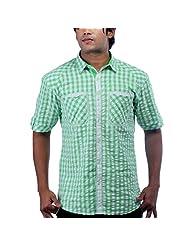 Just I Mens Green Shirt With White Checks