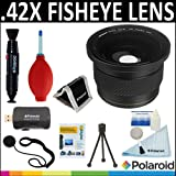 Polaroid Studio Series .42X HD Super Fisheye Lens + Cleaning & Accessory Kit For The Olympus OM-D E-M5, PEN-E-PL3, PEN E-P3, E-PM1, PEN E-P2, PEN E-PL1, E-PL2, GX1 Digital SLR Cameras Which Have Any Of These ( 17mm, 45mm) Micro Olympus Lenses