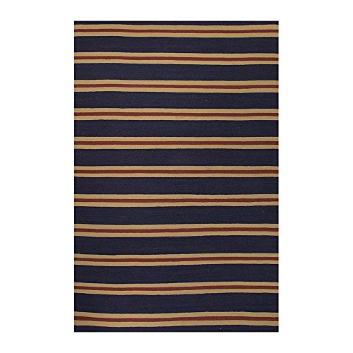 Jaipur Rugs Flat-Weave Geometric Pattern Wool Gray/Ivory Lago Rectangle Area Rug Deep Navy/Deep Navy 2X3 front-576202
