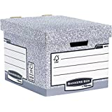 Bankers Box by Fellowes System Standard Storage Box with Fastfold Automatic Assembly - Grey (Pack of 10)