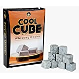 Cool Cube, Whiskey Stones - Set of 9 Grey Whiskey Rocks - Includes Gift Box & Muslin Pouch- Made of Pure Soapstone