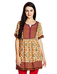 Fusion Beats Women's Tunic Top (E515ZARA06M BEIGE_S)