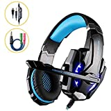G9000 Pro Gaming Bass Over-ear Headset 3.5mm LED Lighting Noise Cancellation and In-line Controller Headphone Earphones with Microphone for PS4 Tablet Laptop Blue