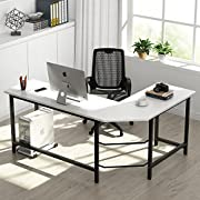 Tribesigns Modern L-Shaped Desk Corner Computer Desk PC Laptop Study Table Workstation Home Office, Wood & Metal (White + Black Leg)