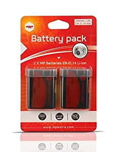 2 x batteries ENEL14 EN-EL14 MP EXTRA ® pour Nikon