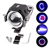 PR U7 Fog Light Lamp Projector Lens With Low Beam High Beam & Strobe Function Angel Light Color: Blue, (Devil eyes color :Red) For Motorcycle Bike Scooter Led Super Power Spot Beam Light For Hero Xtreme Double Disc 1 Pcs