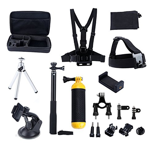 MCOCEAN-14-in-1-Accessories-Kit-for-Gopro-Hero-4-Session-Black-Silver-Hero-Lcd-3-3-2-GeekPro-20-30-40-Selfie-Stick-Head-Strap-Chest-Mount-Floating-Grip-Suction-Cup