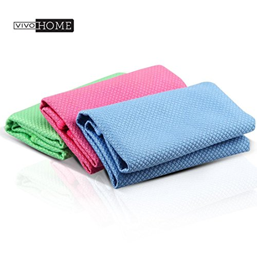 VIVOHOME 3 Pack Double-sided Durable and Reusable Microfiber Cleaning Cloths/Dust Cloths/Dust Wipes for Stainless Steel Appliance, Glasses, Smartphones - Streak Free, Scratch Free and Lint Free