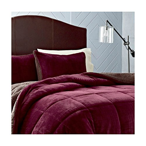 Soft & Best Comfort Luxury Premium Fleece Comforter Set for Bedroom in Winter - Beet Color, Full / Queen Size (Eddie Bauer Fleece Sheet Set Full compare prices)