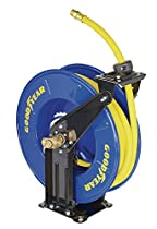 Goodyear L820154G Steel Retractable Air Compressor/Water Hose Reel with 1/2 in. x 50 ft. Rubber Hose, Max. 300PSI