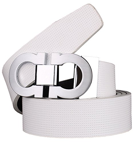 Bullko Men's Smooth Leather Buckle Belt 35mm Sliver Buckle and White Leather up to 42in