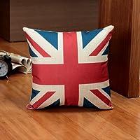 "DuoLe Cotton Linen Square Decorative Cushion Cover Sofa Throw Pillowcase 18"" x 18"" The Union Flag by DuoLe"