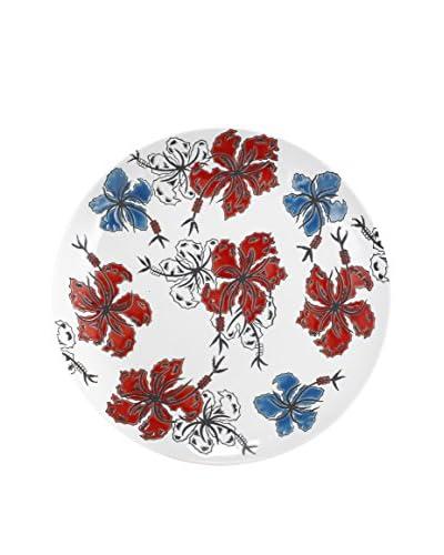 David Tutera Decorative Plate, Blue/White/Red