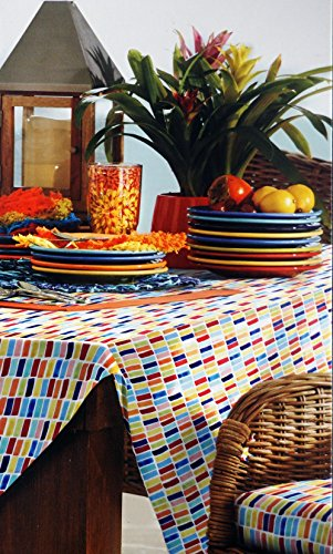 Fiesta Fabric Indoor / Outdoor Tablecloth Dash Multicolor 60 Inches by 102 Inches (The Homer Laughlin China Company compare prices)