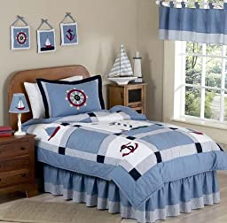 Come Sail Away Nautical Childrens and Kids 3 Piece Full / Queen Boys Bedding Set