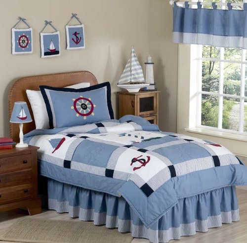 Come Sail Away Nautical Childrens Bedding 3pc Full / Queen Set
