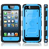 i-Blason Armorbox for Apple iPhone 5C Dual Layer Hybrid Protective Case with Built-in Screen Protector and Impact Resistant Bumpers (Blue)