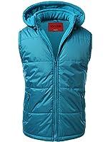 IDARBI Men's Zip Up Water Resistant Puffer Vest Jacket with Detachable Hood