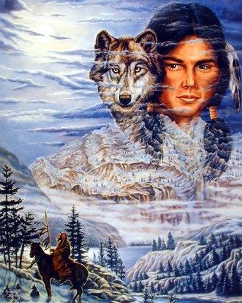 Brave Wolf Jonnie Kostoff Native American Fine Art Print Poster (16x20)