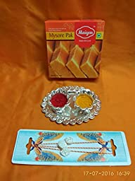 Rakhi simple auspicious pearl Rakhi hand crafted ,yellow red strings, Indian sweets gift pack,rakhi for brother