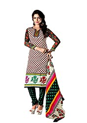 RUDRA FASHION WOMEN'S RED & GREEN COTTON SALWAR SUIT DRESS MATERIAL WITH COTTON DUPATTA.DS-2106