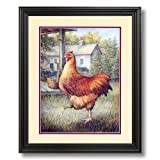 Red Barnyard Chicken Hen Country Home Decor Wall Picture Black Framed Art Print