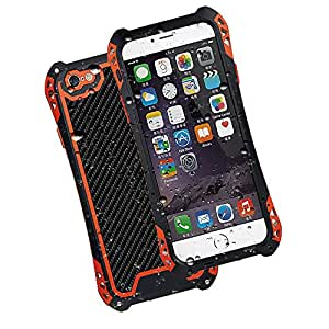 Evershop® Carbon Fiber Aluminum Metal Gorilla Glass Heavy Duty Iphone 6 Case(4.7 Inch) Waterproof Shockproof Dirt Proof Iphone 6 Amira Cover Case Phone Shell with a Hook (Black-red-black)