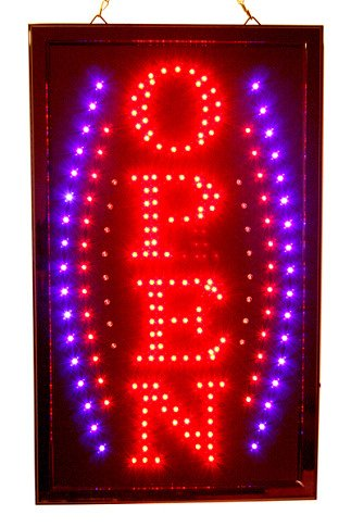 Vertical Open Big Animated Bright Led Neon Business Motion Light Sign. On/Off With Chain 13*22*1 Large Blt8045S