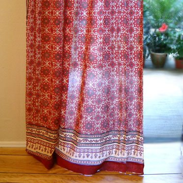 Ruby Kilim ~ Rustic Red Cotton Voile Window Curtain Panel 46x84