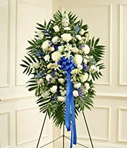 Flowers - Blue & White Sympathy Standing Spray