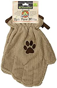 Dogs Unleashed Ritz 2-Pack Microfiber Paw Mitts, Taupe/Brown