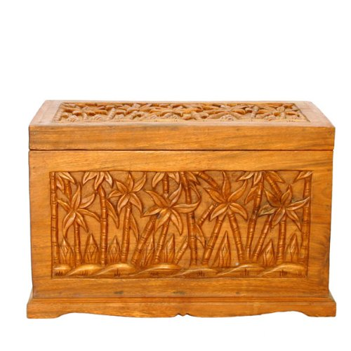 Exp Handmade Asian Furniture 23-Inch Tropical Palm Tree Design Wood Storage Chest/Coffee Table