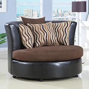SWIVEL CHAIR,CHOCOLATE/F 56′′Lx54-1/4′′Wx36-1/2H
