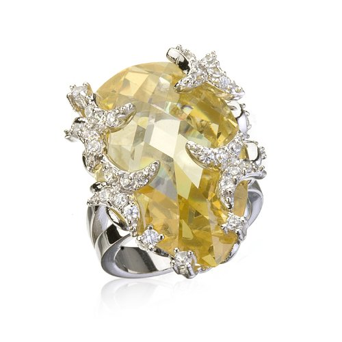 PEAR CANARY CZ BUTTERFLY RING