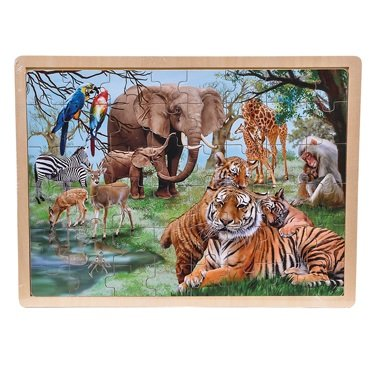 48 Piece Zoo Animal Scene Puzzle - 1
