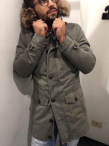 Giubbotto Parka UOMO INVERNALE interno pelliccia di pecora Cappuccio con pelliccia uomo Antony Morale 2 COLORI (M 48, VERDONE)