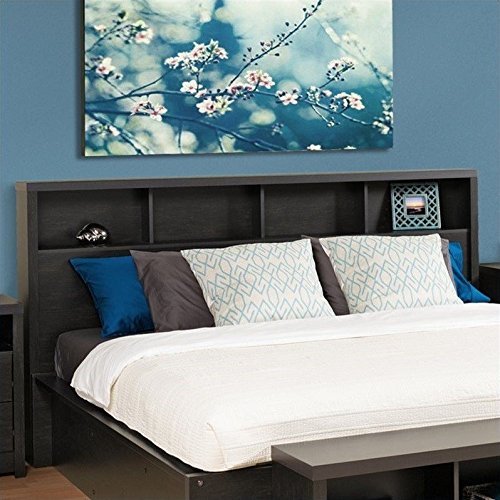 Prepac HHFK-0500-1 District Headboard, King, Washed Black (King Size Storage Headboard compare prices)