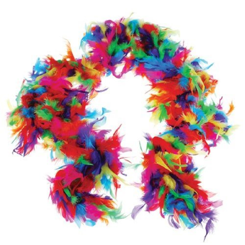 US Toy One Rainbow Feather Boa Costume, 6' x 60gm, Multicolor - 1
