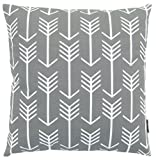 JinStyles® Cotton Canvas Arrow Accent Decorative Throw Pillow Cover (Slate Gray, White, Square, 1 Cover for 18 x 18 Inserts)